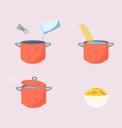 pasta cooking directions instructions steps how vector image