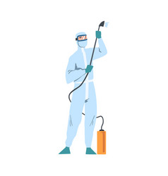 Person in white protective antiviral suit spraying vector