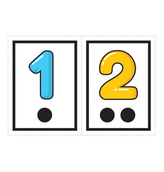 Printable flash card collection for numbers vector