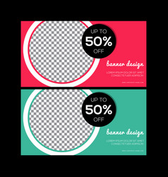 red banner design green abstract poster set we vector image