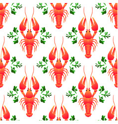 red crayfish seamless pattern flat gradient sea vector image