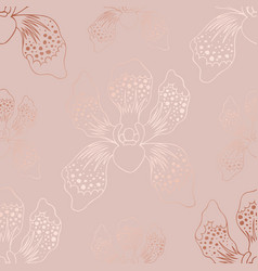 Rose gold luxury texture with orchids vector