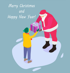 santa claus gives a gift to the boy vector image