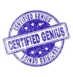 Scratched textured certified genius stamp seal vector