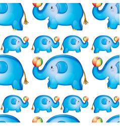 seamless pattern tile cartoon with toy elephant vector image