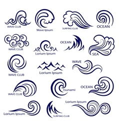 Set isolated wave icons vector