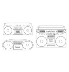 set linear audio tape vector image