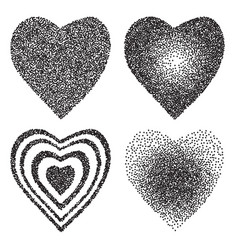 set of black halftone heart isolated on white vector image