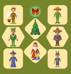 Set of cute kids in masquerade costumes vector