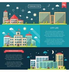 Set of flat design buildings compositions vector