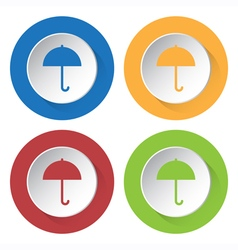 set of four square icons with umbrella vector image