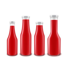 Set of glass red tomato ketchup bottle vector