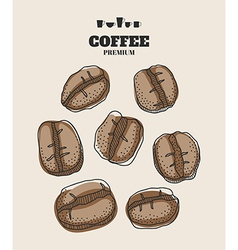 Set of hand drawn coffee beans for design vector image