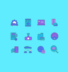 set simple line icons carsharing vector image