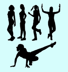 sexy girls and sport activity silhouette vector image