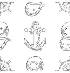 ship equipment seamless pattern vector image