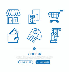 shopping e-commerce thin line icons set vector image