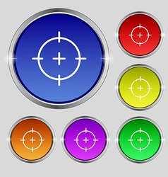 Sight icon sign Round symbol on bright colourful vector