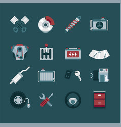 Simple set car service and repair garage icon vector