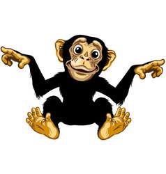 Smiling cartoon chimpanzee vector