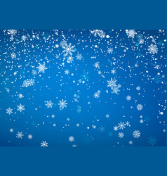 Snowfall christmas background flying snow flakes vector