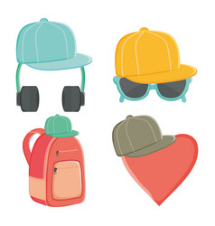 sport caps with youth culture accessories vector image