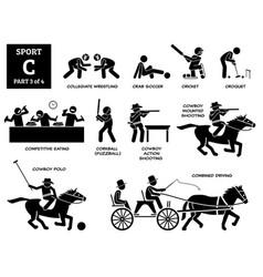 Sport games alphabet c icons pictograph collegiate vector