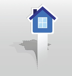 Sticker with blue house vector
