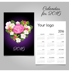 Stylish calendar 2016 with bouquet in heart shape vector