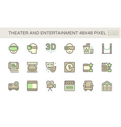 Theater and entertainment icon set design 48x48 vector