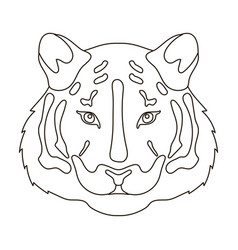 Tiger icon in outline style isolated on white vector