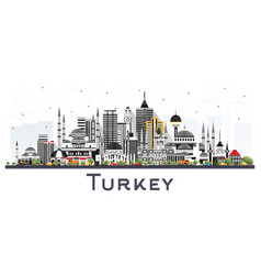 Turkey city skyline with color buildings isolated vector
