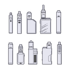 Vaping set vape devices outline on white vector