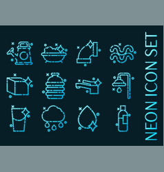 Water set icons blue glowing neon style vector