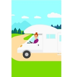 Woman driving motor home vector image