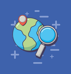 world planet location pin and magnifying glass vector image