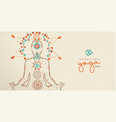 Yoga day web banner of lotus pose meditation vector