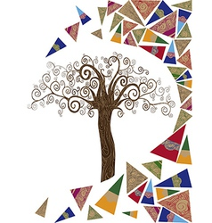 Art tree wave concept vector image