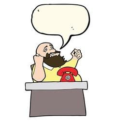Cartoon arrogant boss man with speech bubble vector