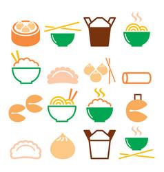 chinese take away food - pasta rice spring rolls vector image