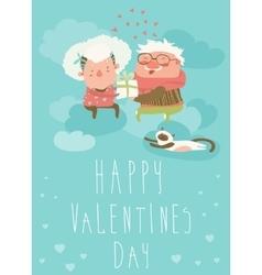 Couple of elderly angels hugging vector image vector image