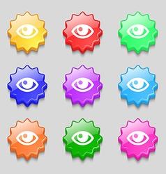 Eye icon sign symbol on nine wavy colourful vector image