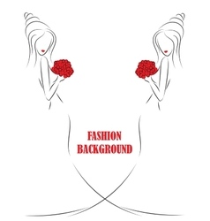 fashion background with girl or woman sketch vector image