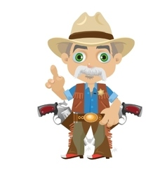 Wise grandpa cartoon character in Wild West vector image vector image