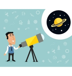Astronomer with telescope print vector image vector image