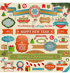 Christmas set - vintage ribbons vector image vector image