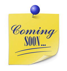 coming soon paper message on white background vector image vector image