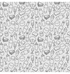 Food line icon seamless pattern Modern vector image