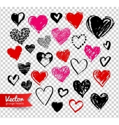 Grunge Valentine hearts on transparency background vector image vector image