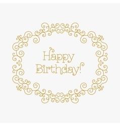 Happy Birthday card mono line style Art lines vector image